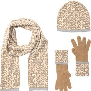 MK, NWT scarf, gloves and hat set